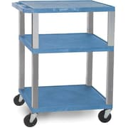 "H Wilson® 34""(H) 3 Shelves Tuffy AV Cart W/Nickel Legs & Electrical Attachment, Blue"