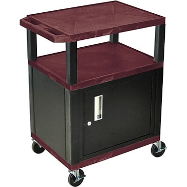 H Wilson® 34in.(H) 3 Shelves Tuffy AV Carts W/Black Legs & Cabinet, Burgundy