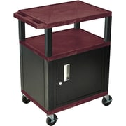 H Wilson® 34(H) 3 Shelves Tuffy AV Carts W/Black Legs & Cabinet, Burgundy