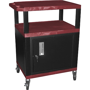 H Wilson® 4in.(H) 3 Shelves Tuffy AV Cart W/Putty Legs, Cabinet & Electrical Attachment, Burgundy