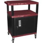 "H Wilson® 4""(H) 3 Shelves Tuffy AV Cart W/Putty Legs, Cabinet & Electrical Attachment, Burgundy"