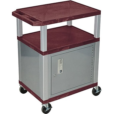 H Wilson® 34in.(H) 3 Shelves Tuffy AV Carts W/Nickel Legs & Cabinet, Burgundy