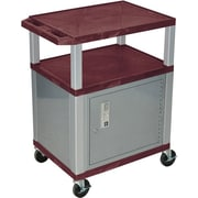 "H Wilson® 34""(H) 3 Shelves Tuffy AV Carts W/Nickel Legs & Cabinet, Burgundy"