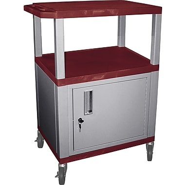 H Wilson® 34in.(H) 3 Shelves Tuffy AV Cart W/Nickel Legs, Cabinet & Electrical Attachment, Navy