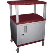 "H Wilson® 34""(H) 3 Shelves Tuffy AV Cart W/Nickel Legs, Cabinet & Electrical Attachment, Navy"