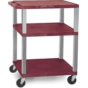 "H Wilson® 34""(H) 3 Shelves Tuffy AV Carts W/Nickel Legs & Electrical Attachment, Burgundy"