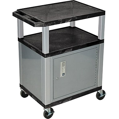 H Wilson® 3 Shelves Tuffy AV Cart W/Cabinet, Black