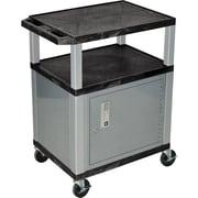 H Wilson® 3 Shelves Tuffy AV Cart W/Cabinet, Black