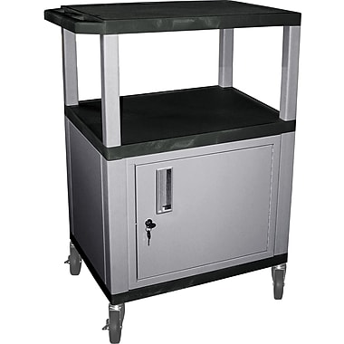 H Wilson® 3 Shelves Tuffy AV Cart W/Black Legs, Cabinet & Electrical Attachment, Black