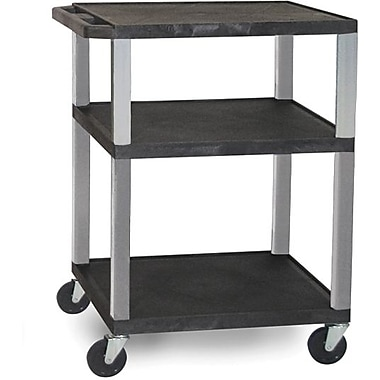 H Wilson® 34in.(H) 3 Shelves Tuffy AV Carts W/Nickel Legs & Electrical Attachment, Black