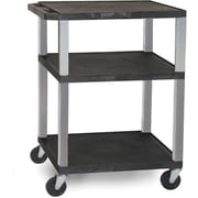 "H Wilson® 34""(H) 3 Shelves Tuffy AV Carts W/Nickel Legs & Electrical Attachment, Black"