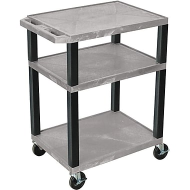 H Wilson® 34in.(H) 3 Shelves Tuffy AV Carts, Gray