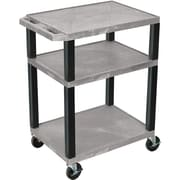 "H Wilson® 34""(H) 3 Shelves Tuffy AV Carts, Gray"