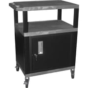 "H Wilson® 4""(H) 3 Shelves Tuffy AV Cart W/Putty Legs, Cabinet & Electrical Attachment, Gray"