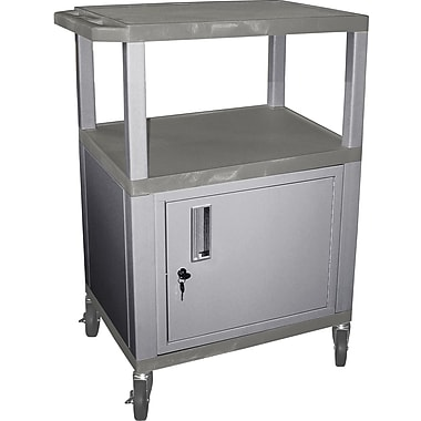 H Wilson® 34in.(H) 3 Shelves Tuffy AV Cart W/Nickel Legs, Cabinet & Electrical Attachment, Gray