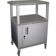 H Wilson® 34(H) 3 Shelves Tuffy AV Cart W/Nickel Legs, Cabinet & Electrical Attachment, Gray