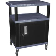 H Wilson® 3 Shelves Tuffy AV Cart W/Putty Legs, Cabinet & Electrical Attachment, Navy