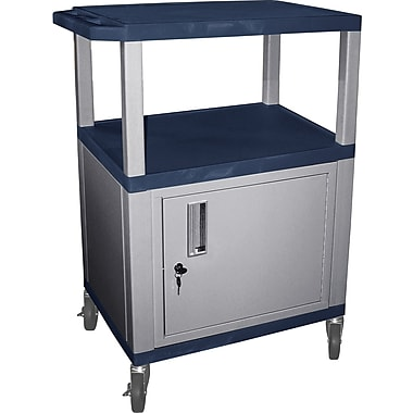 H Wilson® 34in.(H) 3 Shelves Tuffy AV Cart W/Nickel Legs, Cabinet & Electrical Attachment, Burgundy