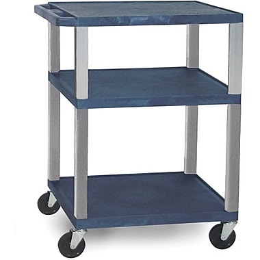 H Wilson® 34in.(H) 3 Shelves Tuffy AV Carts W/Nickel Legs & Electrical Attachment, Navy