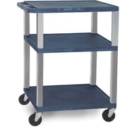 "H Wilson® 34""(H) 3 Shelves Tuffy AV Carts W/Nickel Legs & Electrical Attachment, Navy"