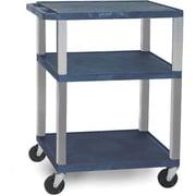 H Wilson® 34(H) 3 Shelves Tuffy AV Carts W/Nickel Legs & Electrical Attachment, Navy