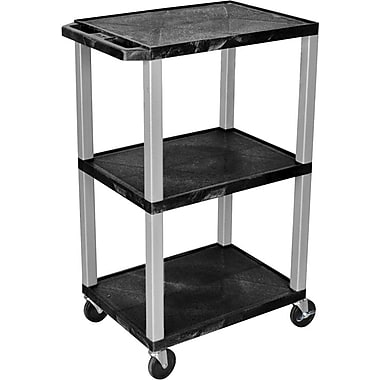 H Wilson® 3 Shelves Tuffy Cart, Black