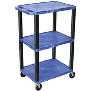 "H Wilson® 42""(H) 3 Shelves Tuffy Carts W/Black Legs, Blue"