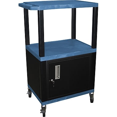 H Wilson® 42 1/2in.(H) 3 Shelves Tuffy AV Carts W/Cabinet & Electrical Attachment, Blue