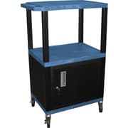 "H Wilson® 42 1/2""(H) 3 Shelves Tuffy AV Carts W/Cabinet & Electrical Attachment, Blue"