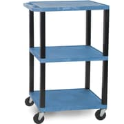 "H Wilson®  42 1/2""(H) 3 Shelves Tuffy AV Cart W/Putty Legs & Electrical Attachment, Blue"