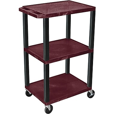 H Wilson® 42in.(H) 3 Shelves Tuffy Carts W/Black Legs, Burgundy