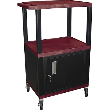 H Wilson® 42 1/2in.(H) 3 Shelves Tuffy AV Carts W/Cabinet & Electrical Attachment, Burgundy