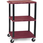 "H Wilson® 42 1/2""(H) 3 Shelves Tuffy AV Carts W/Black Legs & Electrical Attachment, Burgundy"