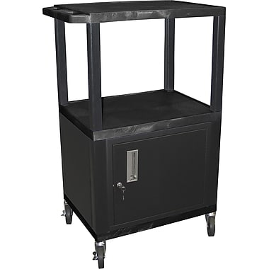 H Wilson® 42 1/2in.(H) 3 Shelves Tuffy AV Carts W/Cabinet & Electrical Attachment, Black