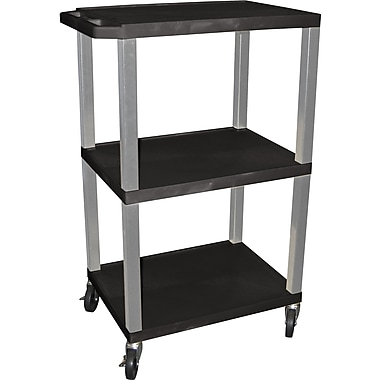 H Wilson® 42 1/2in.(H) 3 Shelves Tuffy AV Carts W/Nickel Legs & Electrical Attachment, Black
