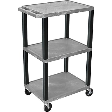 H Wilson® 42in.(H) 3 Shelves Tuffy Carts W/Black Legs, Gray