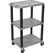 "H Wilson® 42""(H) 3 Shelves Tuffy Carts W/Black Legs, Gray"