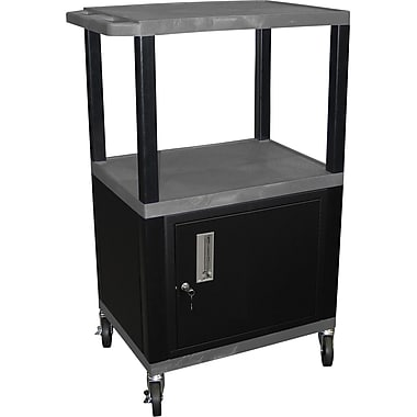 H Wilson® 42 1/2in.(H) 3 Shelves Tuffy AV Carts W/Cabinet & Electrical Attachment, Gray