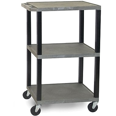 H Wilson® 42 1/2in.(H) 3 Shelves Tuffy AV Carts W/Black Legs & Electrical Attachment, Gray