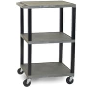 H Wilson® 42 1/2(H) 3 Shelves Tuffy AV Carts W/Black Legs & Electrical Attachment, Gray