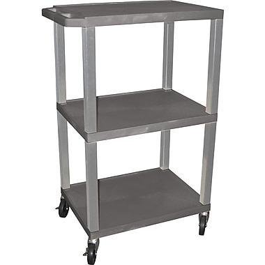 H Wilson® 42 1/2in.(H) 3 Shelves Tuffy AV Carts W/Nickel Legs & Electrical Attachment, Gray