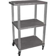 "H Wilson® 42 1/2""(H) 3 Shelves Tuffy AV Carts W/Nickel Legs & Electrical Attachment, Gray"