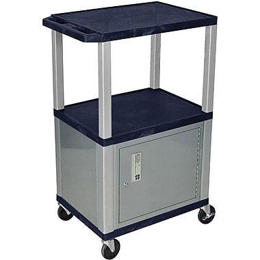 H Wilson® 3 Shelves Tuffy AV Cart W/Cabinet, Navy