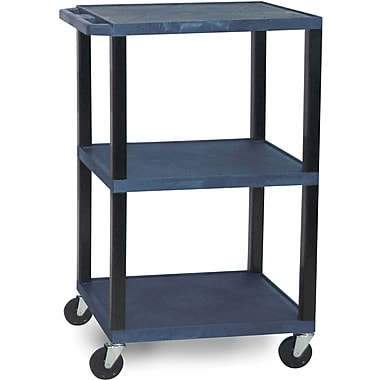 H Wilson® 42 1/2in.(H) 3 Shelves Tuffy AV Carts W/Black Legs & Electrical Attachment, Navy