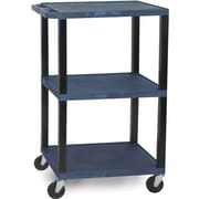 "H Wilson® 42 1/2""(H) 3 Shelves Tuffy AV Carts W/Black Legs & Electrical Attachment, Navy"