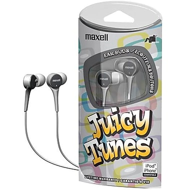 Maxell® 190241 JT Juicy Tunes Earphone, Sliver
