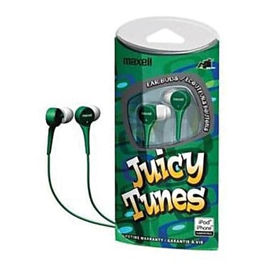 Maxell® 190260 JT Juicy Tunes Earphone, Green