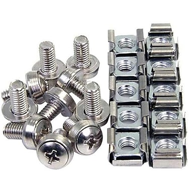 Startech.Com® CABSCREWM62 Mounting Screws and Cage Nuts For Server Rack Cabinet, 100/Pack