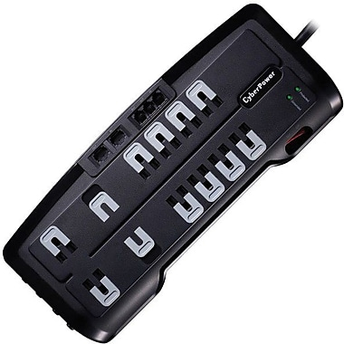 Cyberpower® CSHT1208TNC2 12-Outlet 3150 Joule Home Theater Surge Protector With 8' Cord
