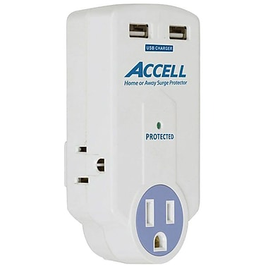 Accell® D080B-010K 3-Outlet 612 Joule Travel Surge Protector With Dual USB Charging